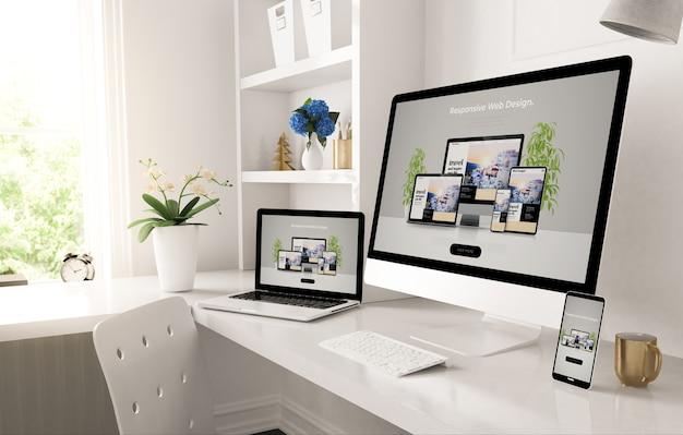 Reaktionsschnelle geräte auf dem heimdesktop, die das 3d-rendering der webdesign-website zeigen