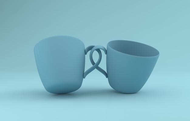 Realistic two mugs ist mockup 3d rendered beigetreten