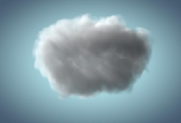 Realistische 3d-regenwolke, die über blauem hintergrund schwebt
