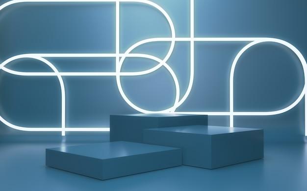 Realistische 3d-renderbühne für die produktpräsentation im neon-glühstil