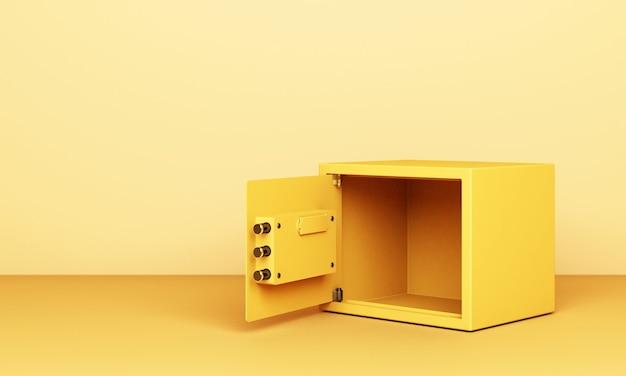 Realistische 3d-renderillustration einer offenen sicheren box auf gelbem ton