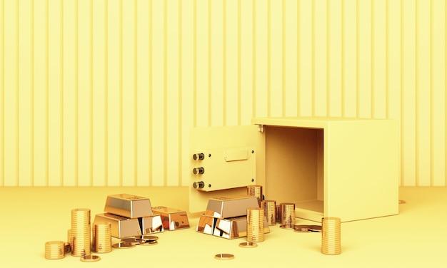 Realistische 3d-renderillustration eines offenen safes mit goldbarren und münze im gelbton