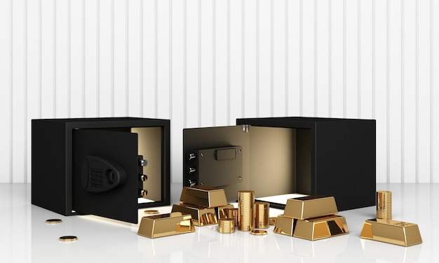 Realistische 3d-renderillustration eines offenen safes mit goldbarren und münze