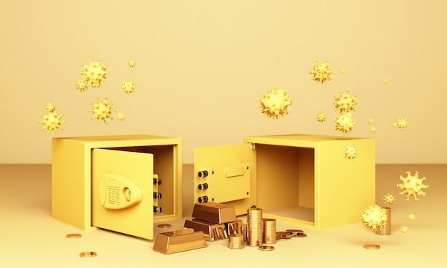 Realistische 3d-renderillustration eines offenen safes mit goldbarren