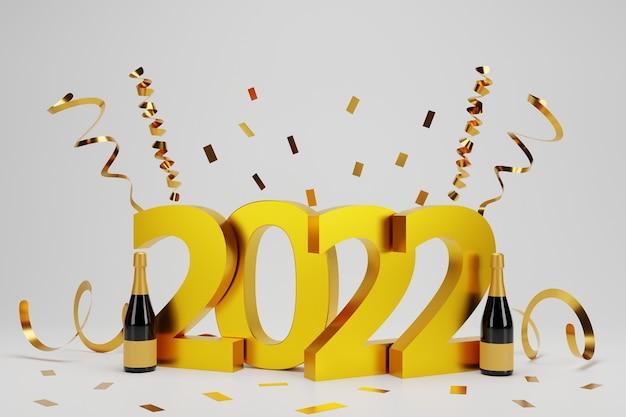Realistische 3d-tapete des neuen jahres mit goldkonfetti und champagner auf weißem hintergrund