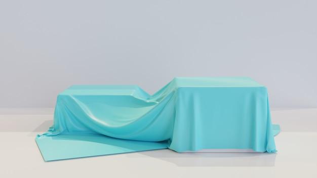 Realistische box mit blauem seidentuch bedeckt
