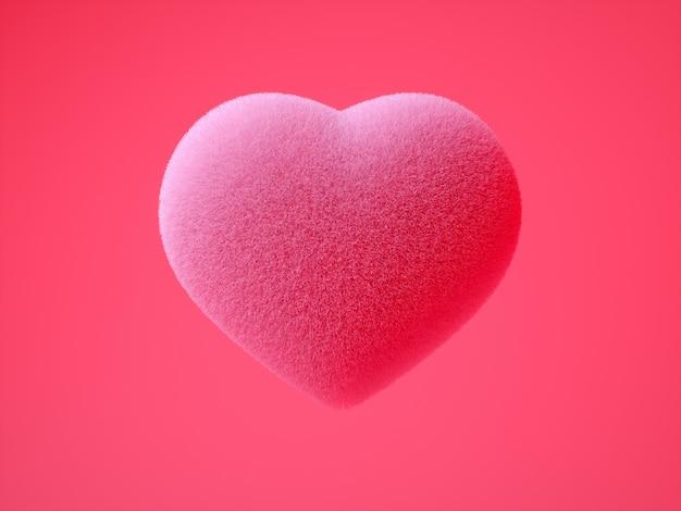 Realistische bunte 3d illustration mit weicher rosa farbe des flauschigen herzens auf intensivem rosa hintergrund die hauptbotschaft rund um liebe - illustration