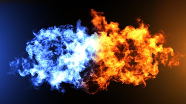 Realistische feuer- und eiswolken kollidieren
