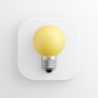 Realistische gelbe runde glühbirnenikone, weißer quadratischer knopf. 3d-rendering.