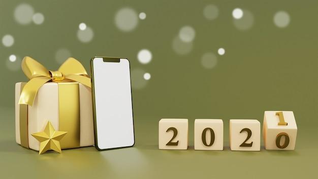 Realistische geschenkbox mit 3d-rendering der neujahrswürfel