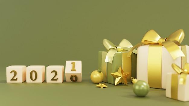 Realistische geschenkbox mit neujahrswürfelwiedergabe