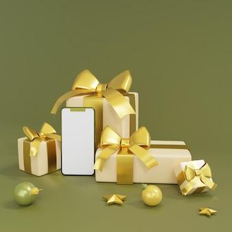 Realistische geschenkboxen mit smartphone- und golddekorations-3d-rendering