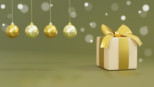 Realistische geschenkboxen und 3d-rendering der golddekoration