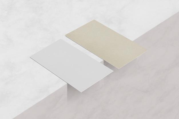 Realistische leere visitenkarte nachhaltigkeit öko-industrie auf marmor