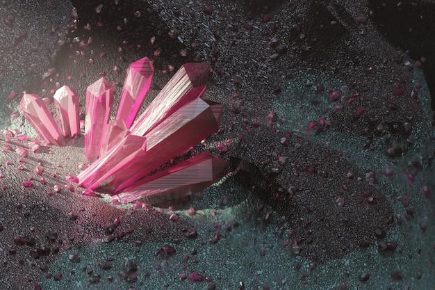 Realistische natürliche rosa kristalle und viele edelsteine auf der felsen-umweltwand-3d-wiedergabe.