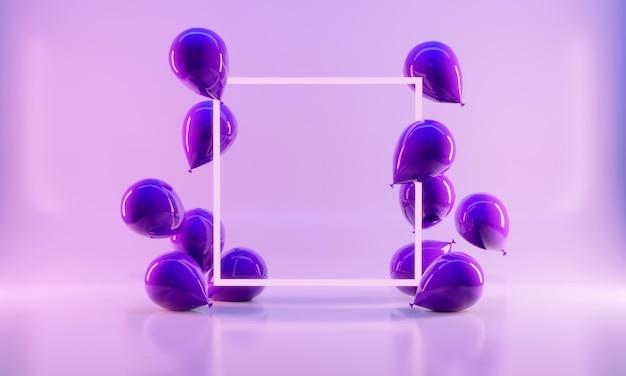 Realistische stilballons im 3d-rendering