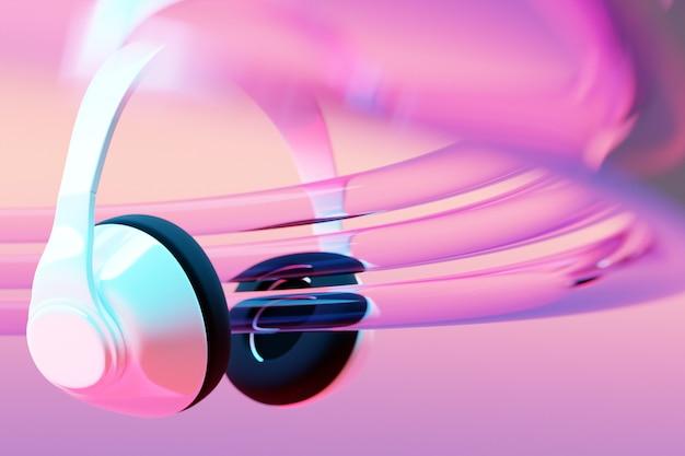 Realistische weiße drahtlose kopfhörer der 3d illustration lokalisiert auf weißem hintergrund unter rosa und blauem neonlicht.