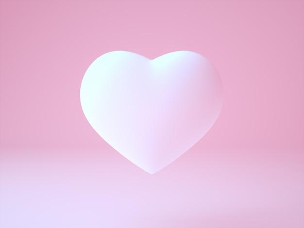 Realistische weiße weiche rosa 3d illustration des herzens auf hellrosa hintergrund die hauptbotschaft rund um liebe - illustration