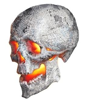 Realistische zeichnung eines menschlichen schädels. farbabbildung mit einem brennenden ascheschädel.