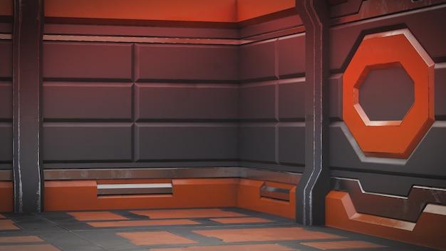 Realistischer alter raumschiff-sciencefictionkorridor, 3d übertragen.