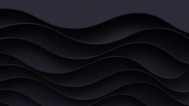 Realistischer dunkler Papierschnitthintergrund. Abstraktes Papierplakat mit Wellenschichten strukturiert. Topographie Relief Nachahmung.