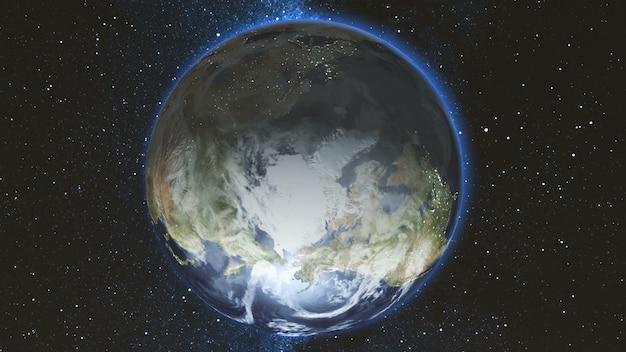Realistischer erdplanet, der sich vor dem hintergrund des sternenhimmels nahtlos um seine achse im weltraum dreht