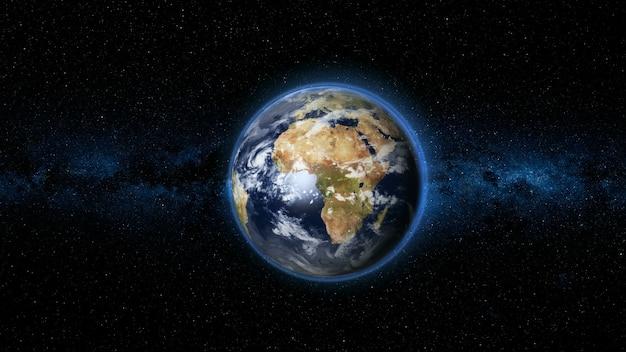 Realistischer erdplanet gegen den sternenhimmel