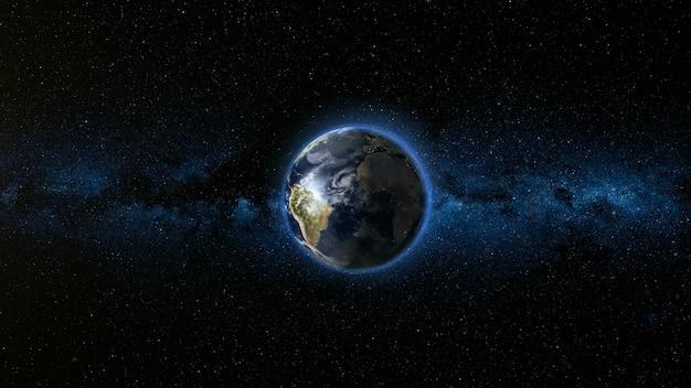 Realistischer erdplanet gegen den sternhimmel
