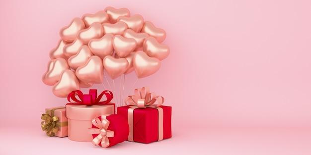 Realistischer glücklicher valentinstaghintergrund mit geschenkboxen und herzformballondekorationen