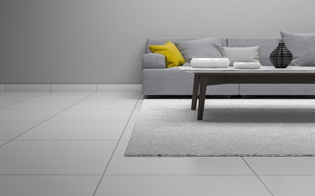 Realistischer innenraum des wohnzimmers 3d