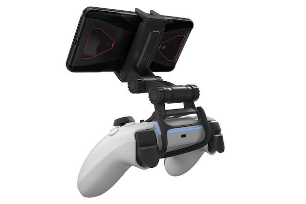 Realistischer joystick zum spielen von spielen auf einem mobiltelefon isoliert auf weiß