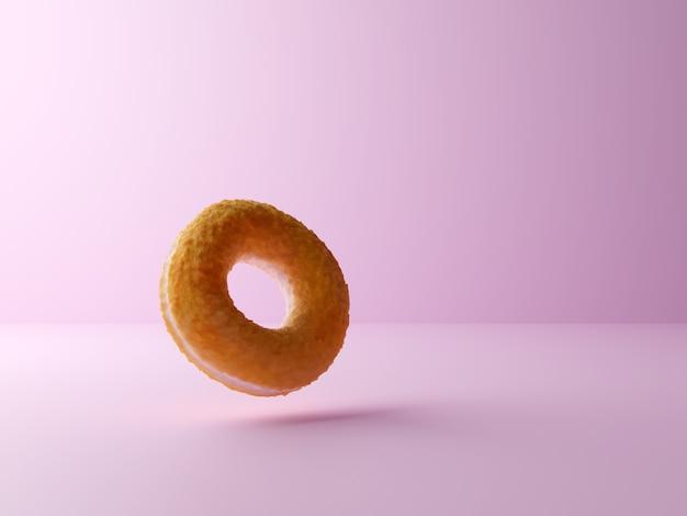 Realistischer köstlicher donut, der in der luft auf einem schönen pastellrosa hintergrund hängt.