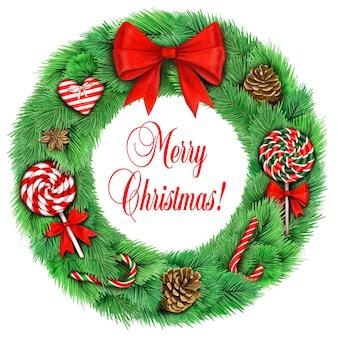 Realistischer kranz mit großer roter schleife und weihnachtsschmuck auf weiß
