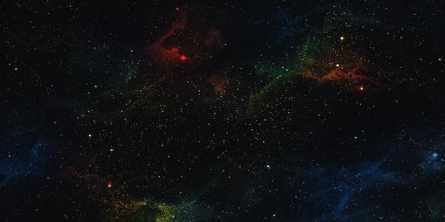 Realistischer nebelraumhintergrund die leuchtenden sterne zerrten mit sternenstaub und der fantasiemilchstraße. magische farbgalaxie das universum und die sternennacht 3d illustration