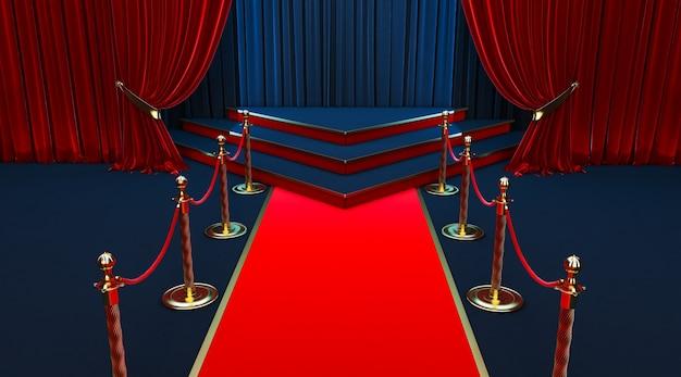Realistischer roter teppich und sockel mit absperrzäunen und samtseil