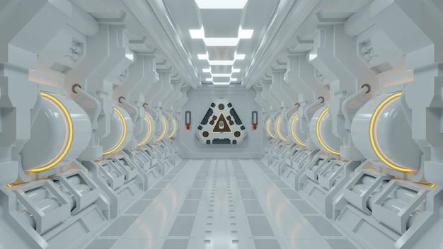 Realistischer science-fiction-raumschiffkorridor. zukünftiges interieur-, geschäfts-, science-fiction-wissenschaftskonzept.