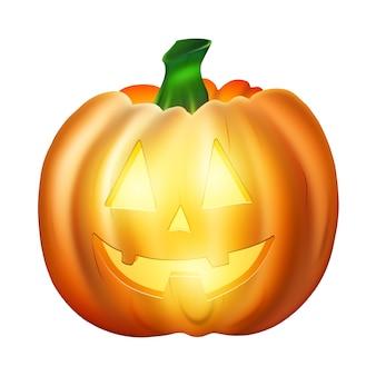 Realistischer zeichnungsorangen-halloween-kürbis lokalisiert auf weißem hintergrund.