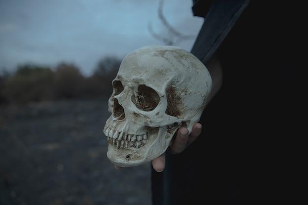 Realistischer zementschädel der nahaufnahme für halloween