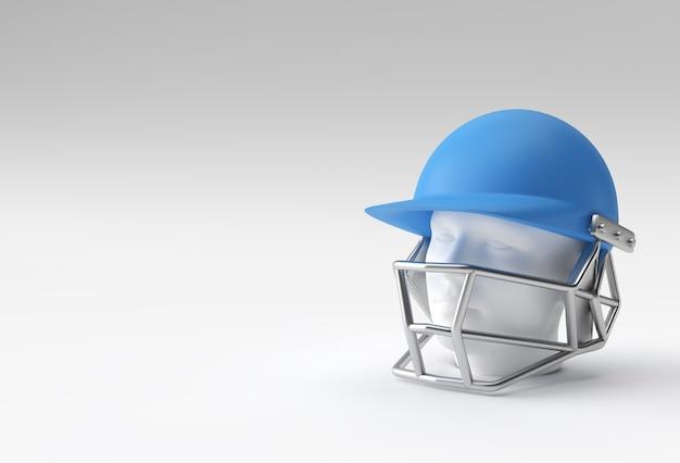 Realistisches 3d-render-cricket-helmmodell isoliert auf weißem hintergrund