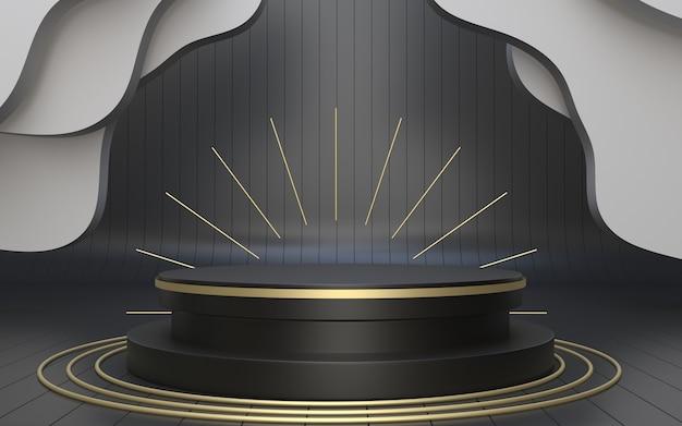 Realistisches 3d-render-schwarzes podium für die produktpräsentation im vintage-stil