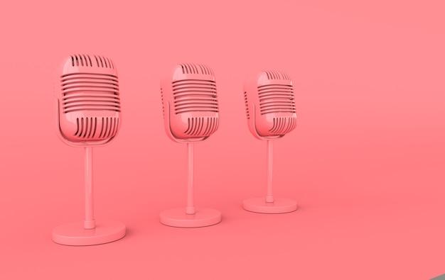 Realistisches 3d-rendering des retro-konzerts oder des funkmikrofons