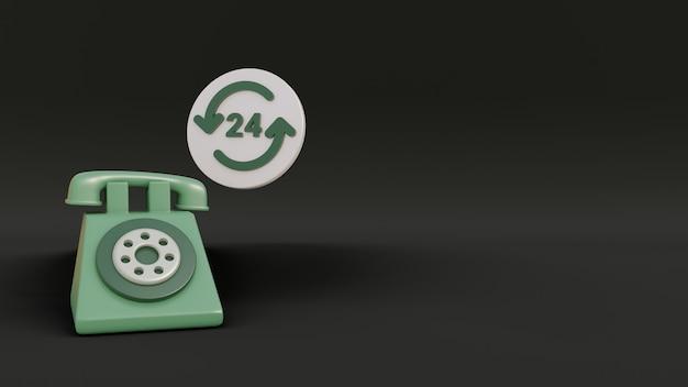 Realistisches 3d-telefon mit 24-stunden-abzeichen