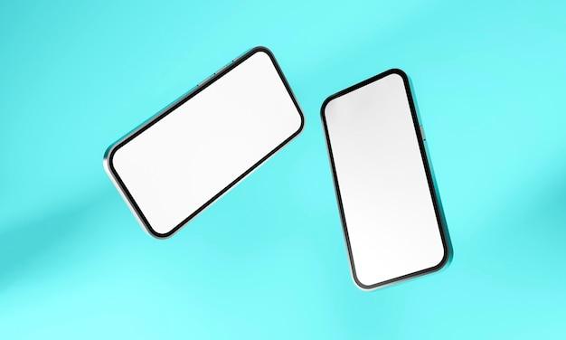 Realistisches handy-smartphone lokalisiert auf blauem hintergrund. 3d-illustration