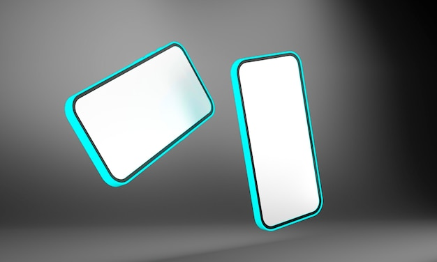 Realistisches handy-smartphone lokalisiert auf schwarzem hintergrund. 3d-illustration