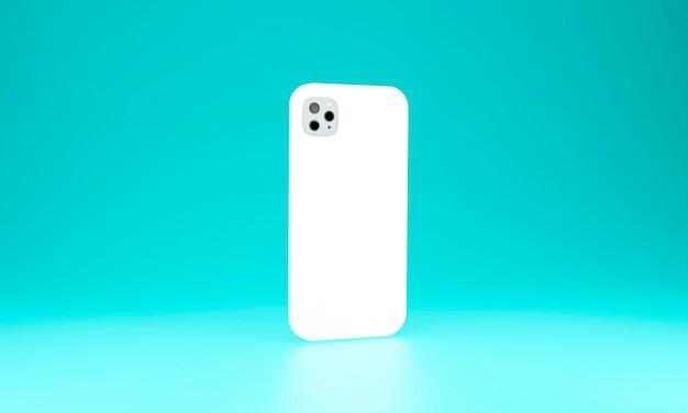 Realistisches handyhüllen-smartphone lokalisiert auf blauem hintergrund. 3d-illustration
