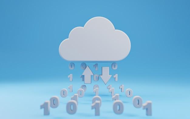 Realistisches virtuelles cloud-computing mit binärzahl auf blauem hintergrund zum hochladen und teilen von informationen, globale technologietransformation durch 3d-rendering-technikkonzept.