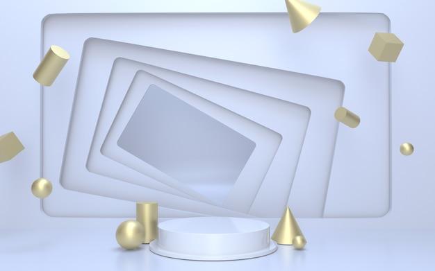 Realistisches weißes podium-produktdisplay mit goldenen geometrischen schwimmenden objekten