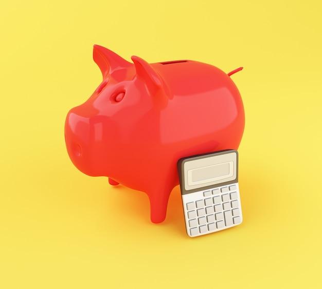 Rechner des büros 3d und sparschwein.
