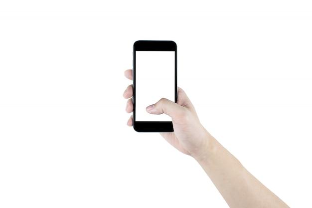 Rechte hand hält den schwarzen smartphone, lokalisiert. beschneidungspfad eingebettet.