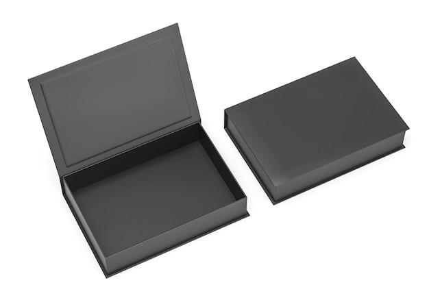 Rechteckige buchbox-modellschablone des schwarzen leeren harten pappkartons für markenpräsentation, 3d rendern